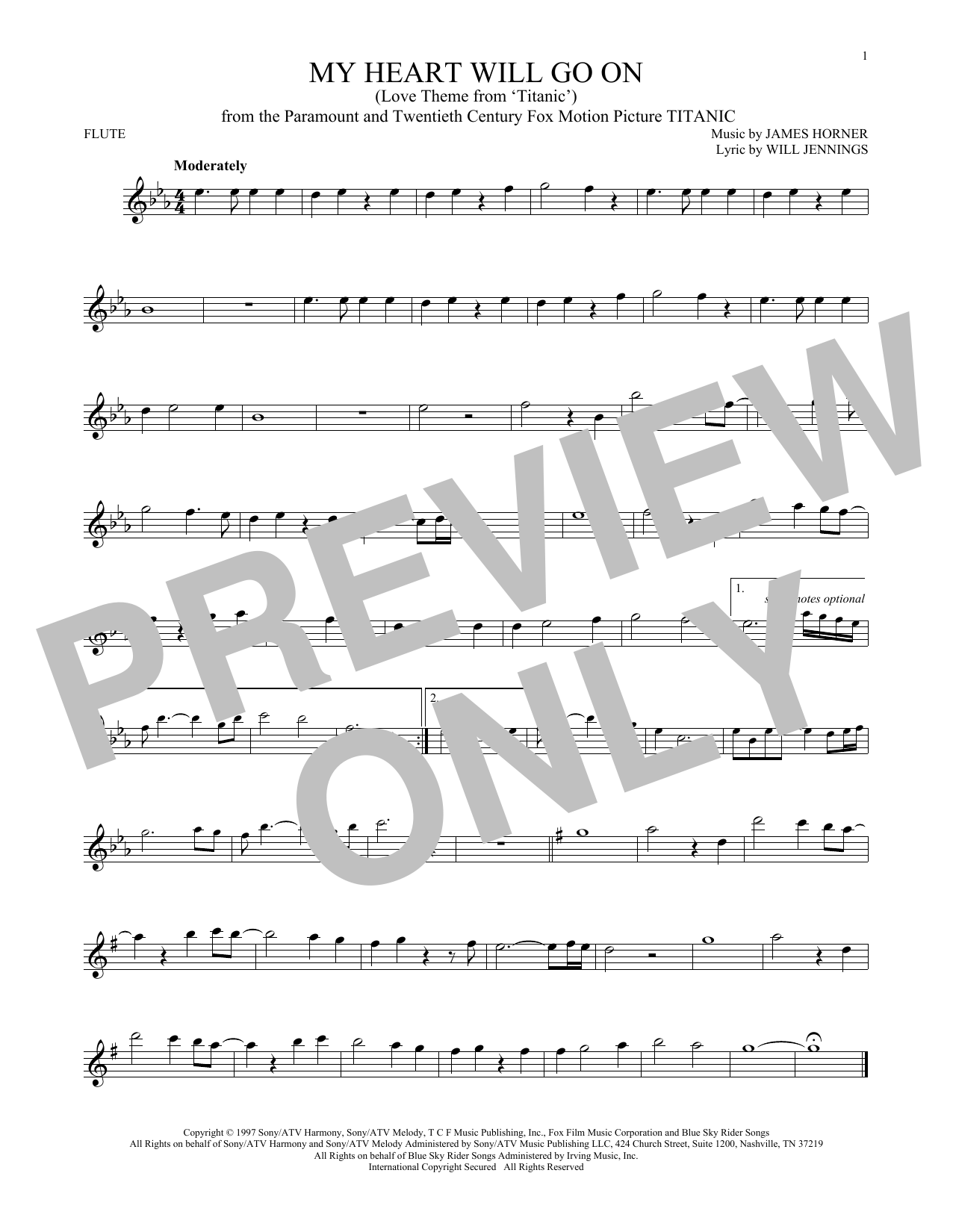 Celine Dion 'My Heart Will Go On (Love Theme From 'Titanic')' Sheet