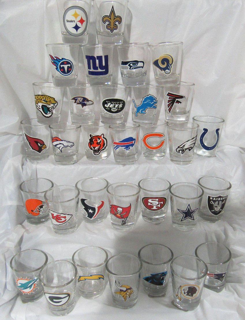 517e0360 NFL COMPLETE SET 1 EACH OF ALL 32 TEAM STANDARD 2 FL OZ SHOT GLASSES   eBay