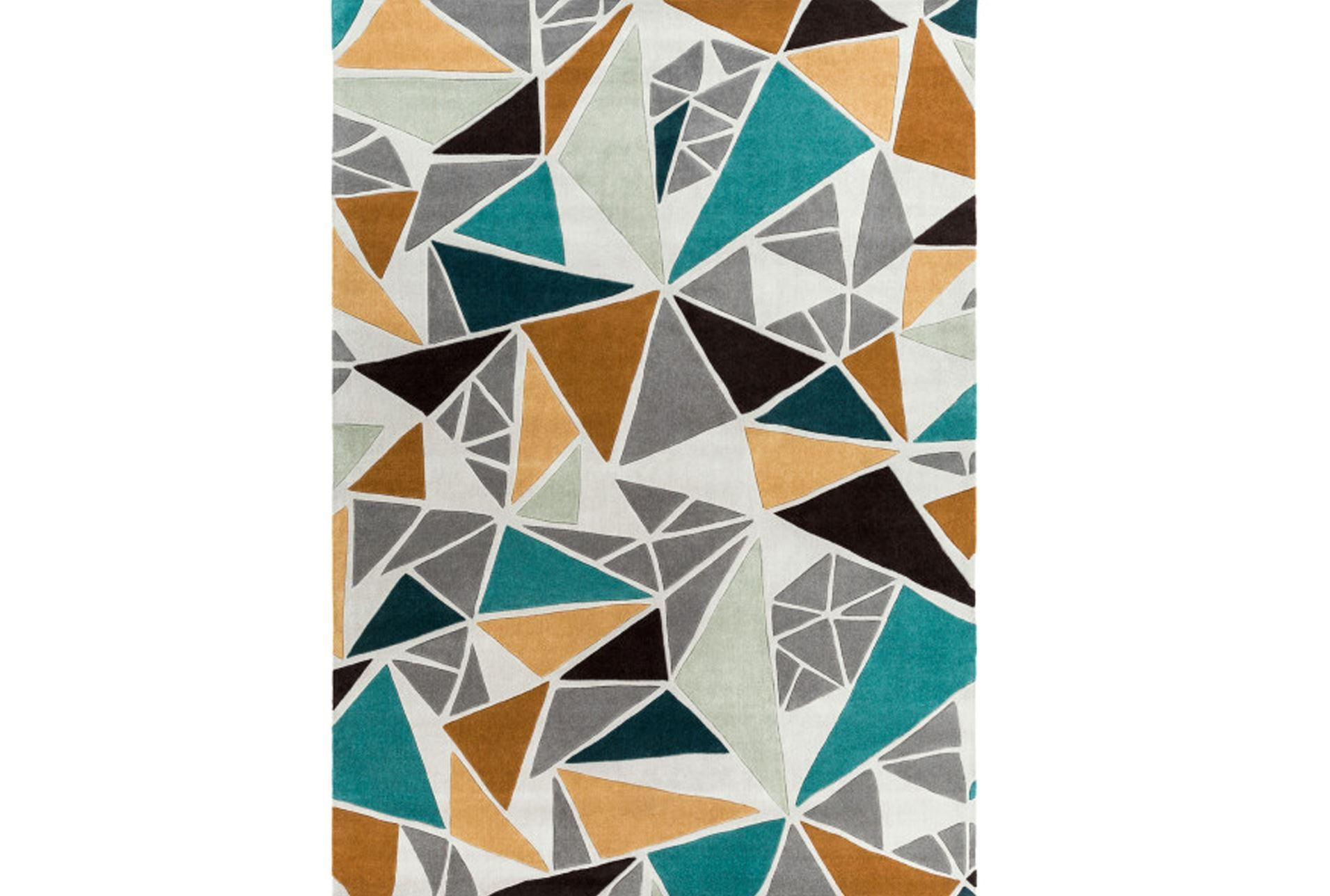 96x132 Rug Trinity Grey Gold Teal Signature