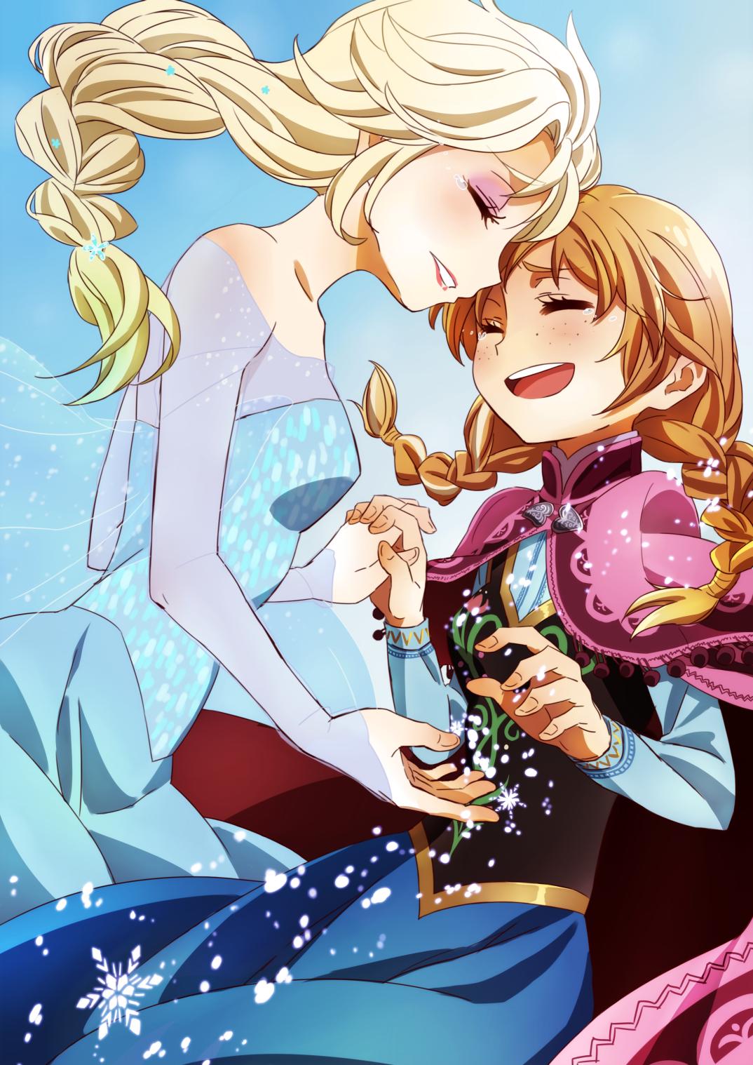 Elsa Anna Anime Style Dessin Anime Disney Personnage Disney
