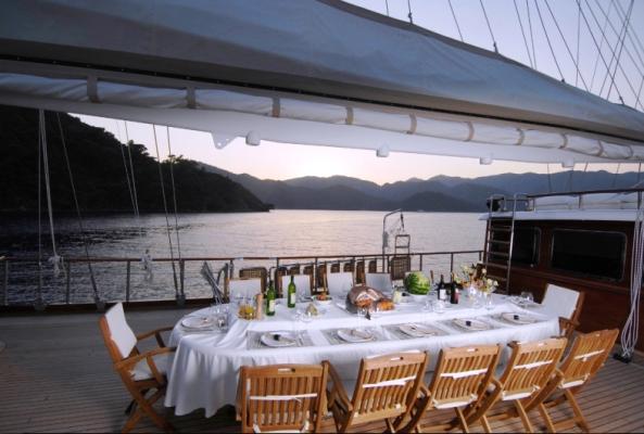 Luxury gulet Mare Nostrum al fresco dining | by Durukos Yachting