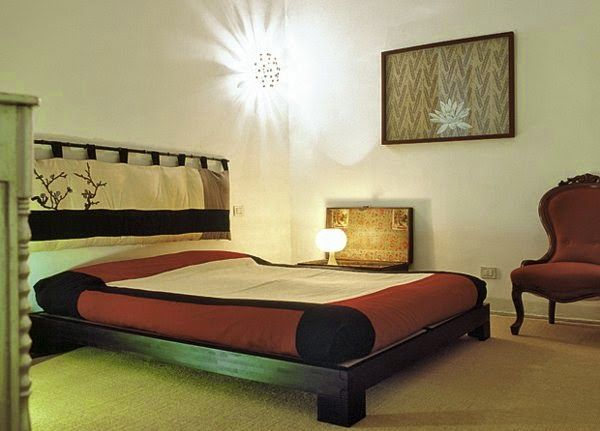 modern bedroom lighting ideas: bedroom with wall lamp likes the sun ...