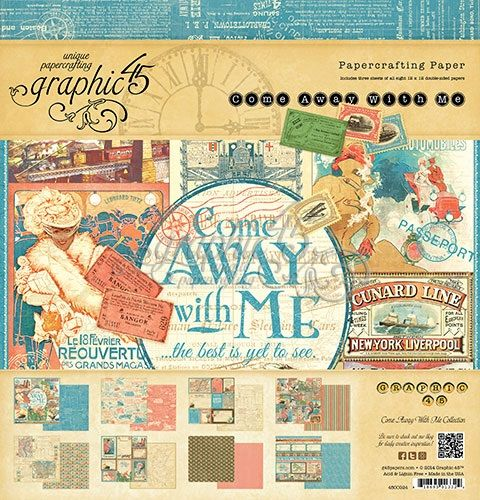 Graphic 45 Come Away With Me Collection 12 X 12 Paper Pad Graphic 45 Paper Pads Vintage Scrapbook
