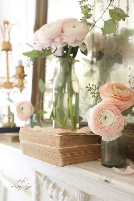 Photo of French Country Fridays- 5 minute spring mantel decor