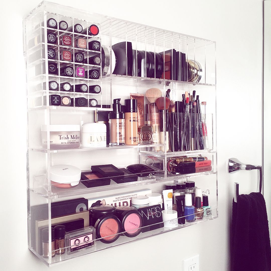 B L E A C H L A Furnishings Patent Pending Space Saving Efficient Acrylic Wall Mou Wall Mounted Makeup Organizer Makeup Storage Wall Makeup Organization