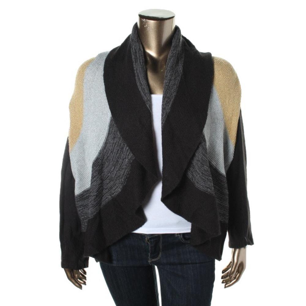 Charter Club Womens Plus Metallic Open Front Cardigan Sweater
