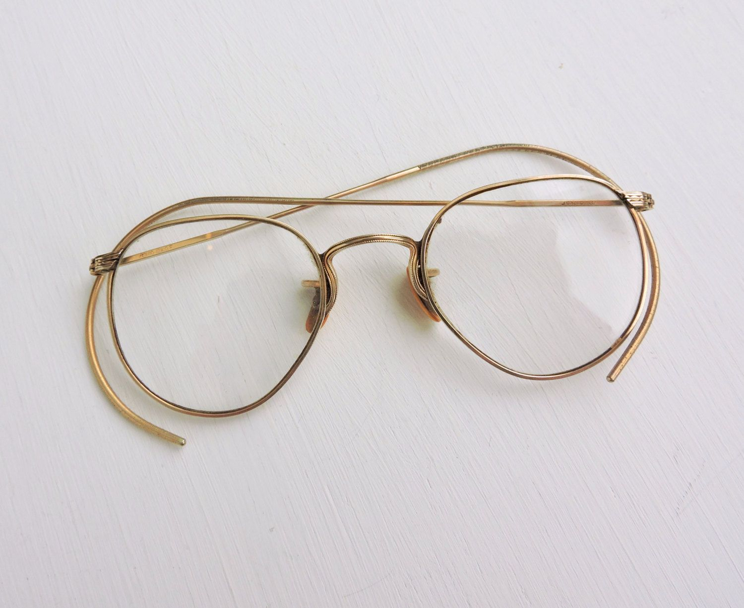 9619a2ff32bf Vintage Eyeglasses, 12K Gold Filled Ful-Vue, AO American Optical, Spectacles,  Round Wired Rimmed Eyewear, Bifocals, Eye Glasses, Brown Case by ...