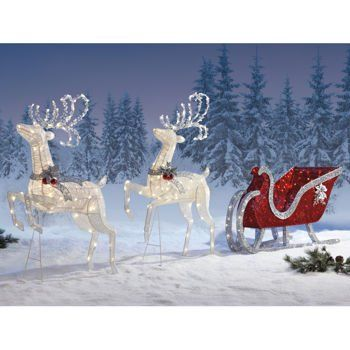2 Deer Santa S Sleigh Large Set Decoration Holiday Lawn Ornaments 400 Pre Attached Pure White And Red Led Lights Steady Le Bulbs