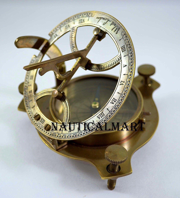 Antique vintage 4/'/' brass sundial compass nautical decor west london good gift