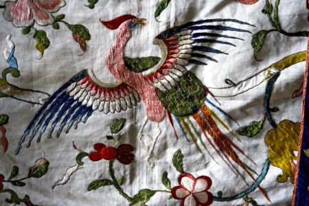 Phoenix on the Chinese embroidered silk inside the state bed at Calke Abbey, Derbyshire ©National Trust Images/John Millar