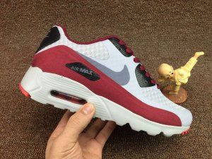 Mens Nike Air Max 90 Ultra Essential Wolf Dark Grey Red Maroon 819474 012  Running Shoes fa623df37