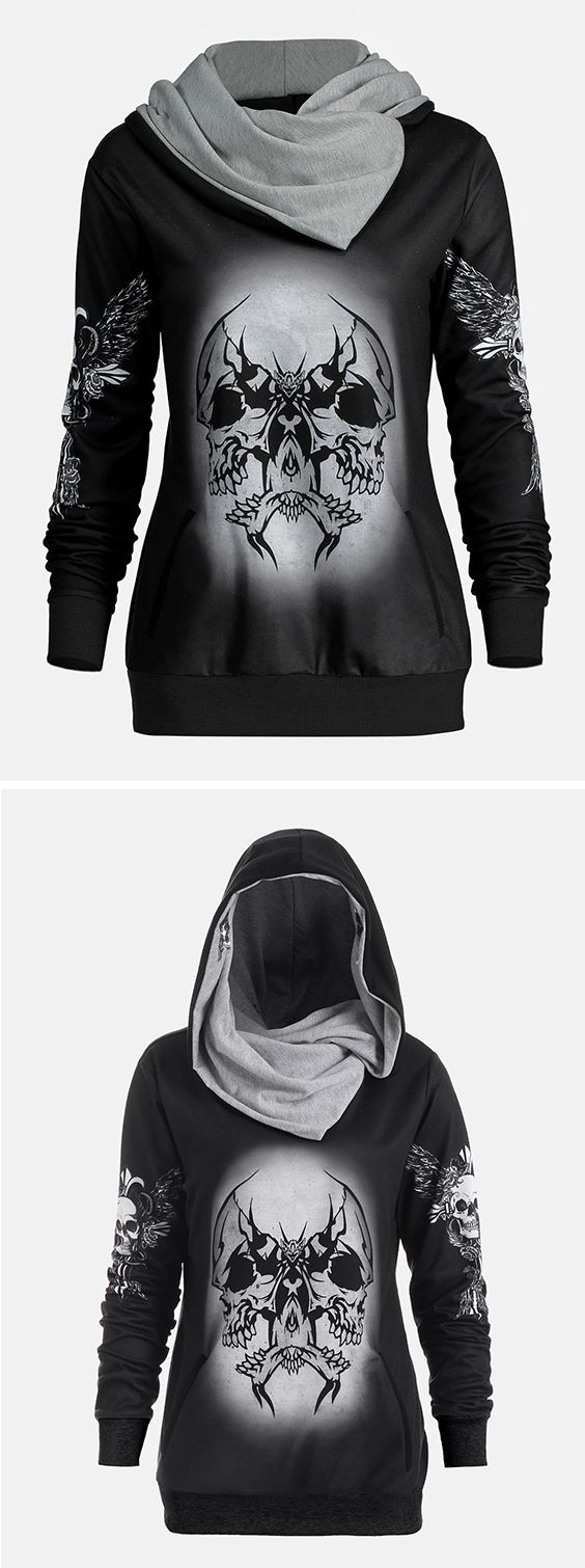 skull and wings print halloween hoodie in 2018 | tomboy | pinterest