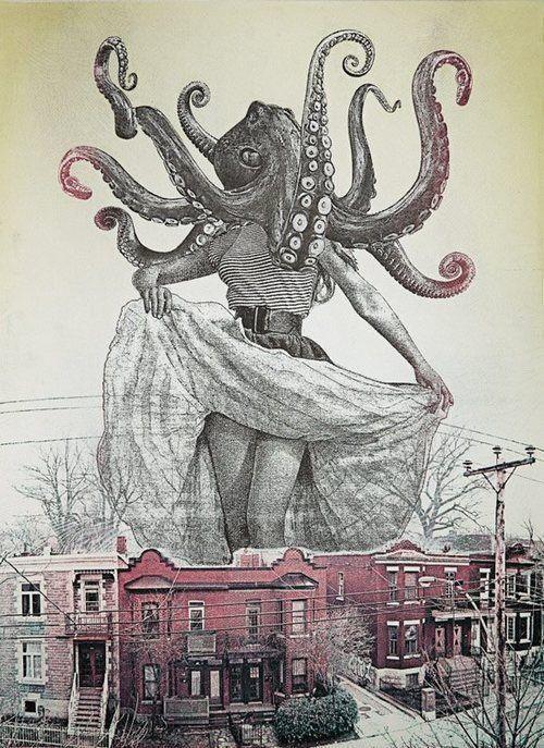 Giant Octopus Headed Lady Ap Art Art Octopus Art