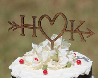 If We Were To Have A Cake. Rustic Initials Arrow Cake Topper   Decoration    Beach Wedding   Bridal Shower   Bride And Groom   Rustic Country Chic  Wedding