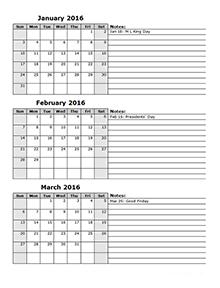 2016 three month calendar template 12l school pinterest
