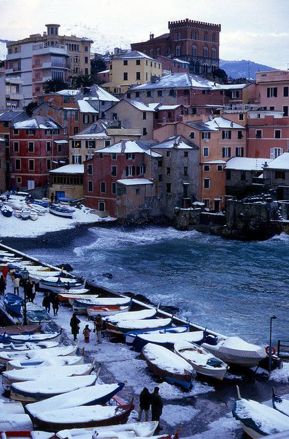 Snow in Boccadasse, Genoa, Liguria, Italy
