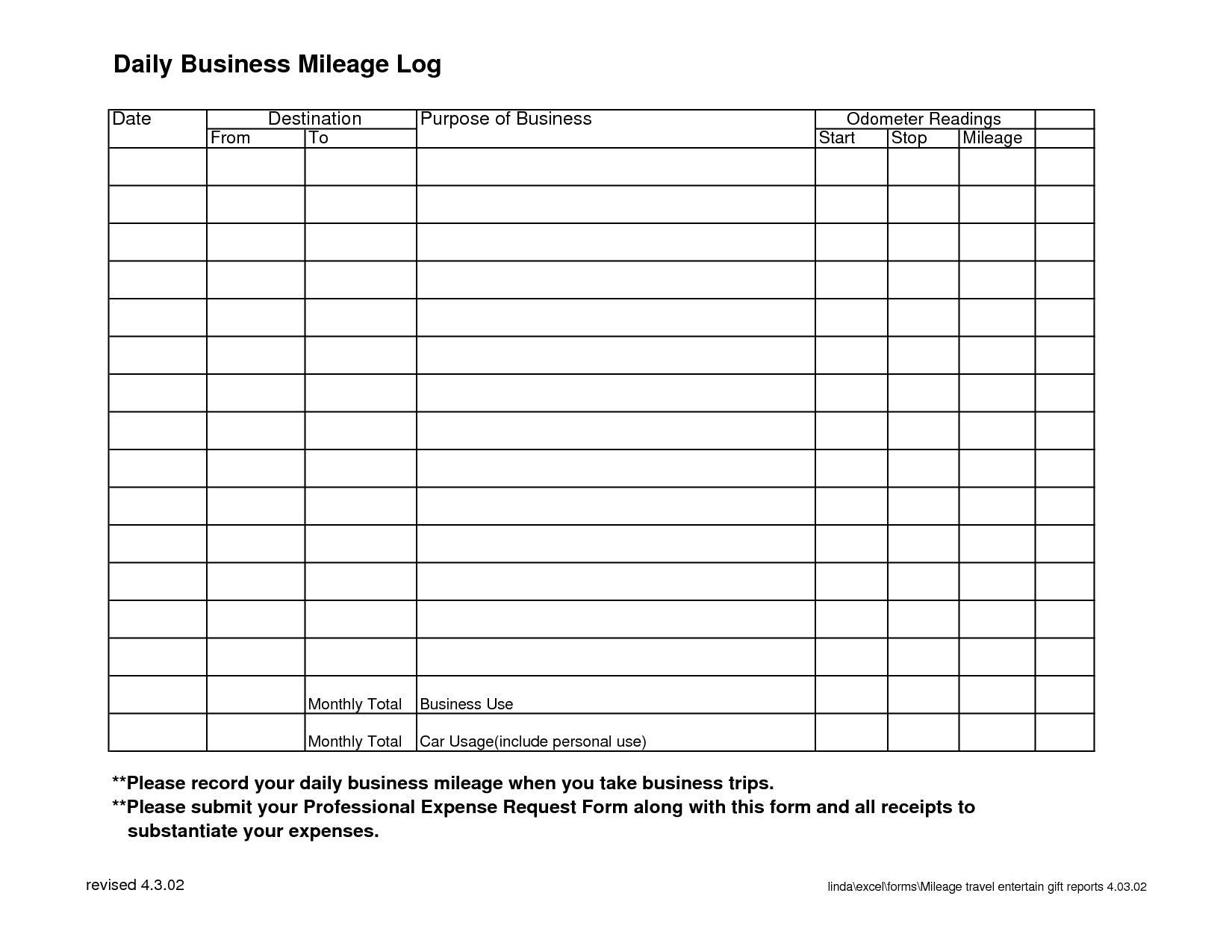 daily business mileage log places to visit pinterest logs
