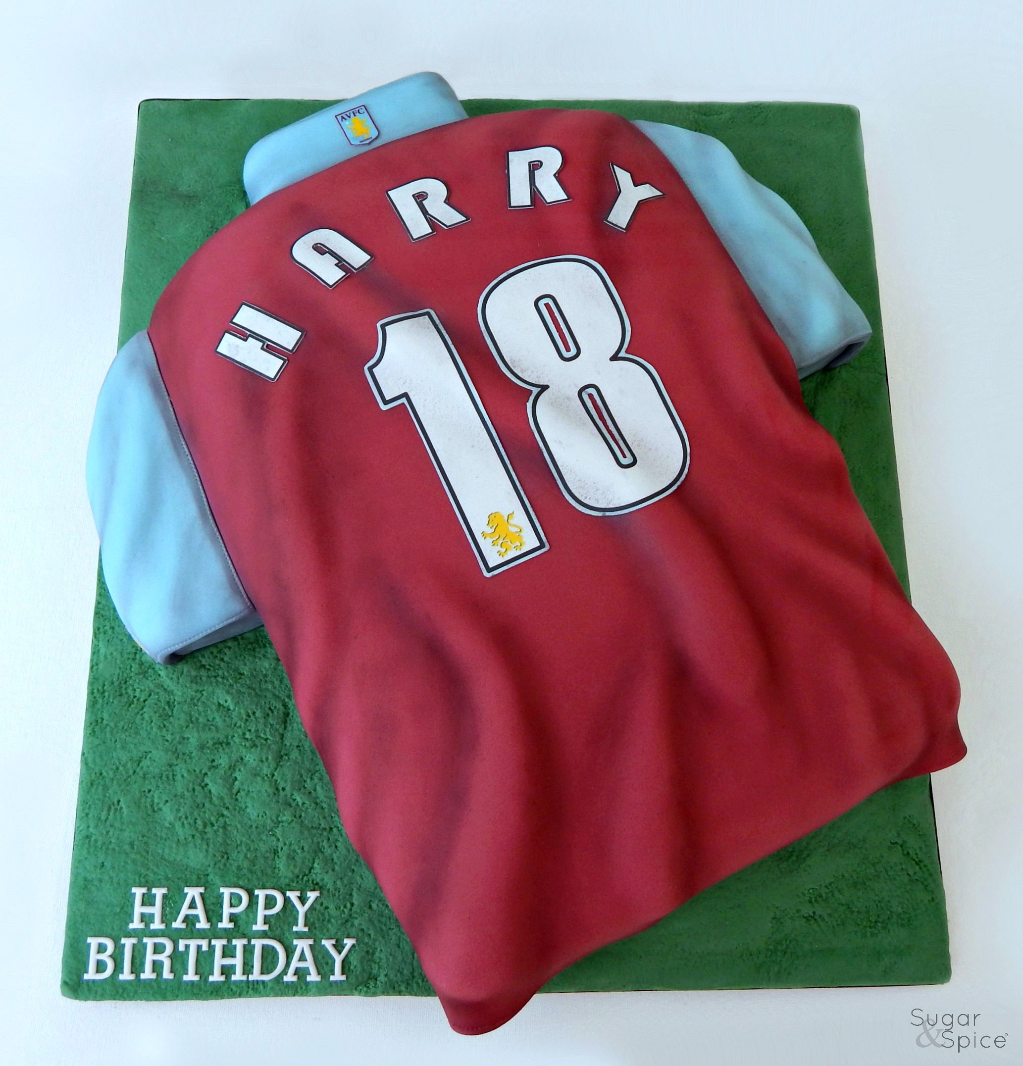 Football Shirt Cake Aston Villa Birthday Cake By Sugar Spice Gourmandise Gifts Https Www Facebook Com Sug Football Birthday Cake Shirt Cake Cake Shirts