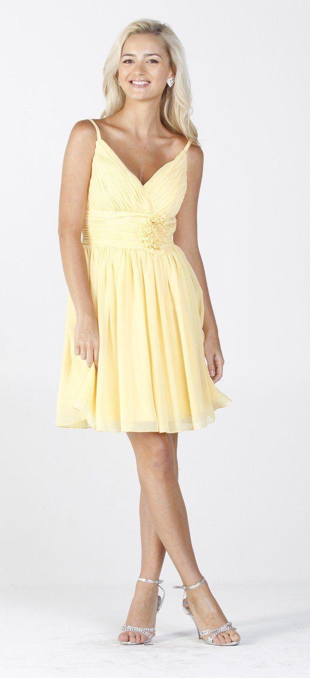 CLEARANCE - Chiffon Yellow Summer Dress Ruched Top Flower Waist ...