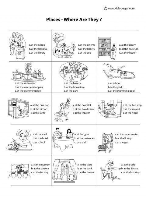resultado de imagen de places in town en ingles fichas fichas english language classes. Black Bedroom Furniture Sets. Home Design Ideas