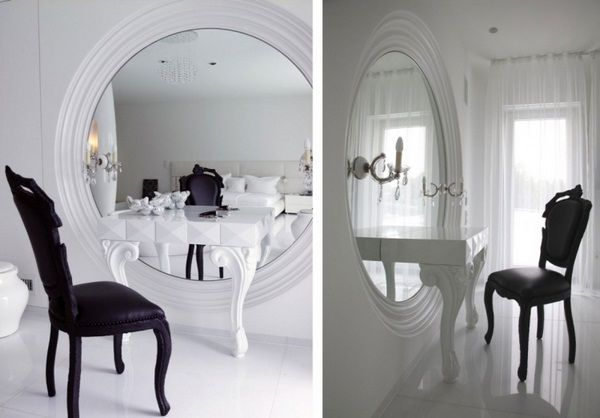 baroque design marcel wanders mirror big round white facepaint commode chair