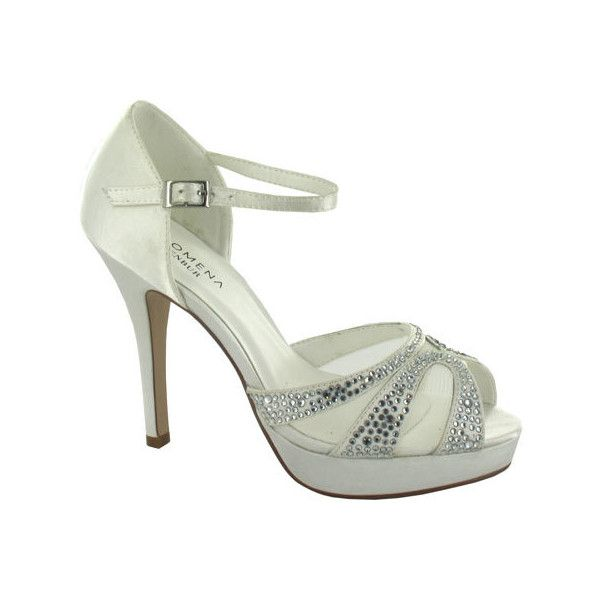 4fdb39ee3 Women s Menbur Amelia Peep Toe Heel - Ivory Satin Dress ( 121) ❤ liked on  Polyvore featuring shoes