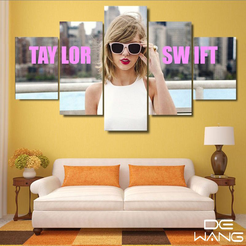5 Panels Canvas Art Pictures Print Nude Girl Larger Wave Sunset ...
