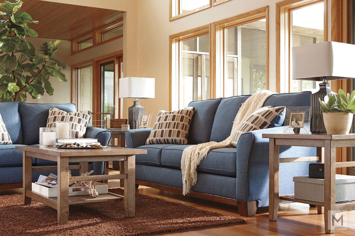 Janley Sofa in Denim Blue   Sofa, Living room, Room
