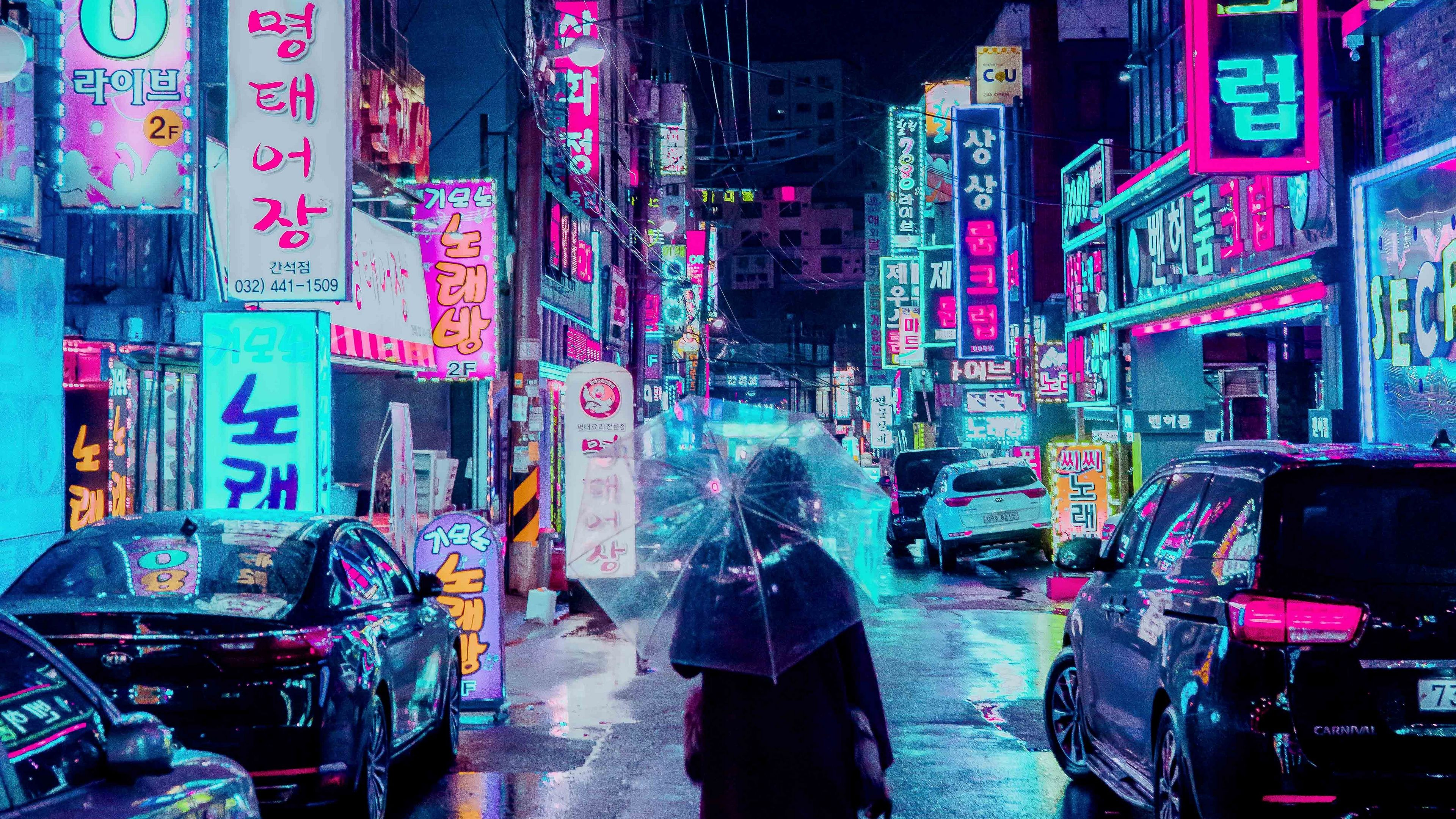 Wallpaper 4k Night City Street Umbrella Man Signboards Lighting Neon 4k Night City Street Umbrella In 2020 Cyberpunk City Cyberpunk Aesthetic Anime City