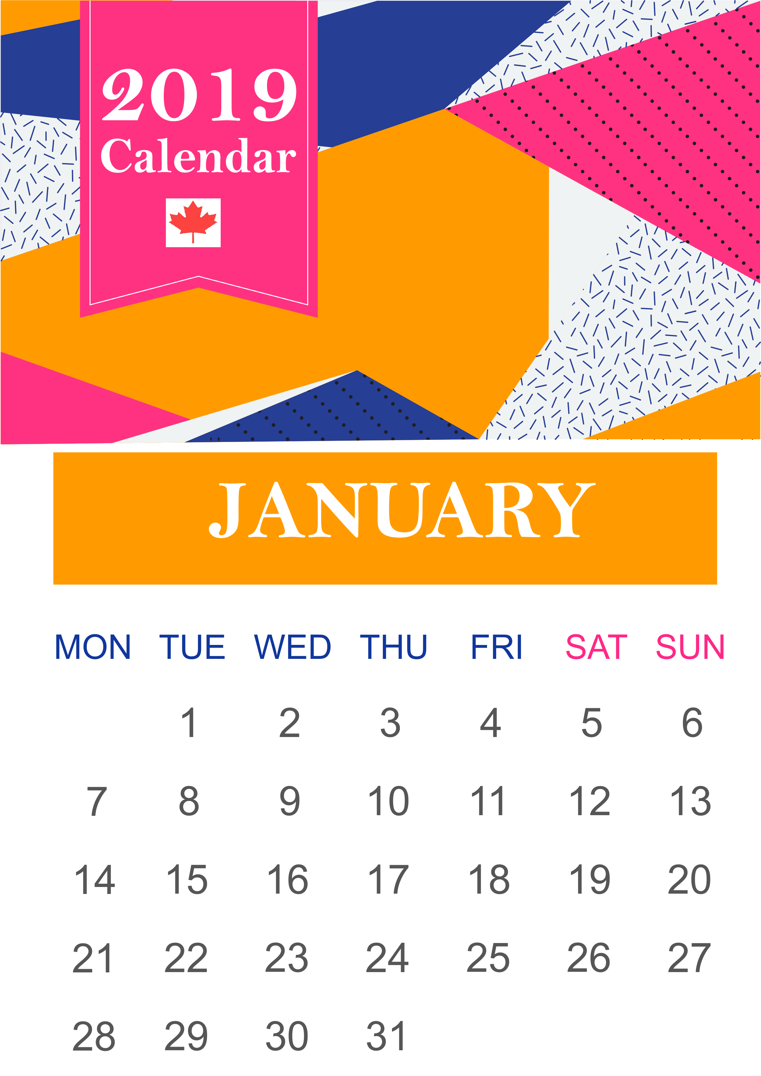 January 2020 Calendar Canada With National Bank and Public