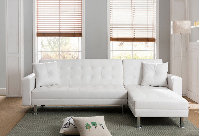 Mgs 8036 Wh 2 Pc Taylorann Jett Nutall Modern Style White Faux Leather Sectional Sofa Rev Leather Sectional Sofa Faux Leather Sectional Leather Sectional Sofas
