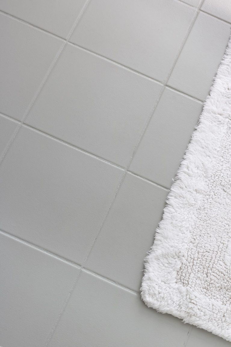 How I Painted Our Bathroom S Ceramic Tile Floors A Simple And Cheap Diy Driven By Decor Painted Bathroom Floors Ceramic Floor Tiles Painting Bathroom Tiles