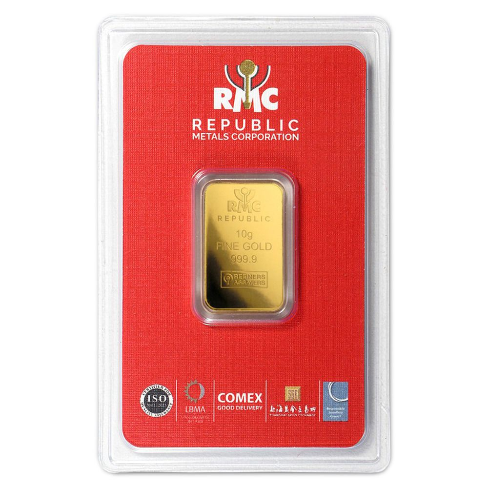 Lot Of 25 10 Gram Rmc Republic Metals 9999 Fine Gold Bar In Assay Goldbars Gold Gold Bar Gold Bars For Sale Metal