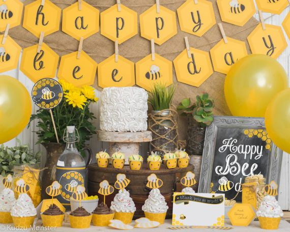 BEE Day Birthday Party Kit Bumble Bee Themed 1st 2nd 3rd Cute Printable