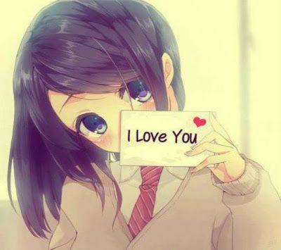Chica anime con mensaje de amor para ti: I Love You
