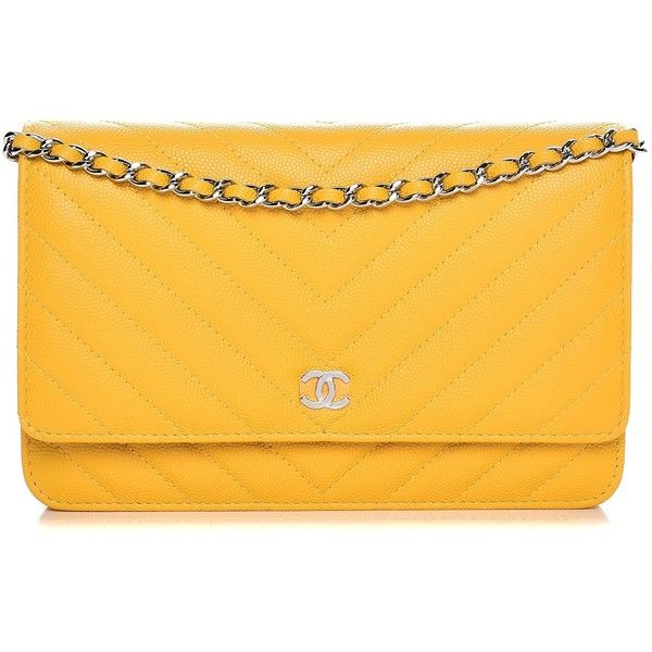 5dde34dd97aa CHANEL Caviar Chevron Quilted Wallet On Chain WOC Yellow ❤ liked on  Polyvore featuring bags, yellow bag, long strap shoulder bags, chanel bags,  ...
