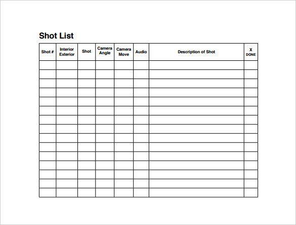Shot List Templates 10 Free Printable Word Excel Pdf