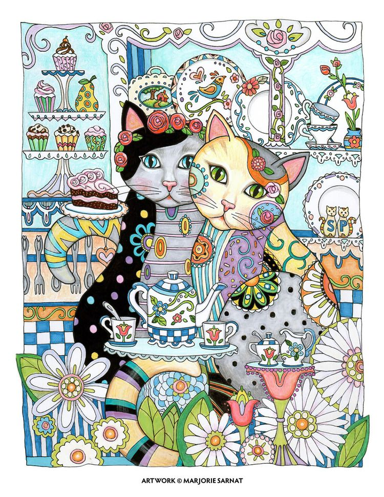 Creative Haven Cats By Marjorie Sarnat Chari Tea Color