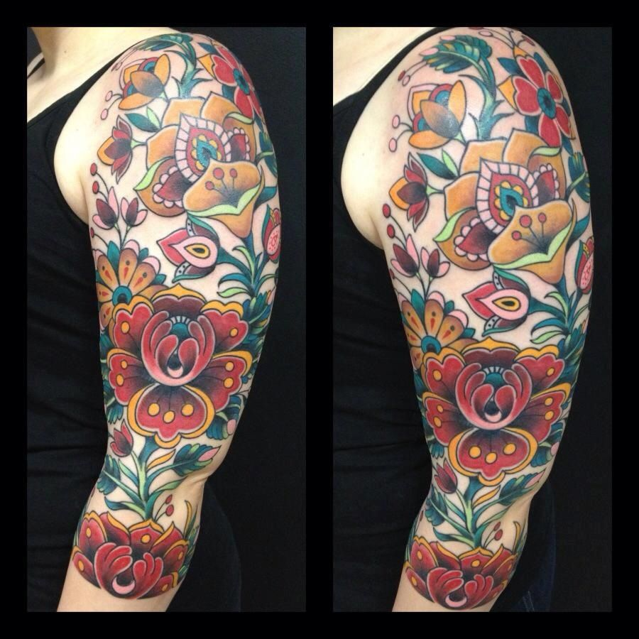 Traditional Tattoo Sleeve Filler: BEAUTIFUL. Sleeve Filler Ideas With Flowers. Dave Kruseman