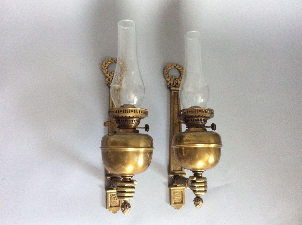 Antique Vintage Victorian Brass Hand Form Sconce Duplex