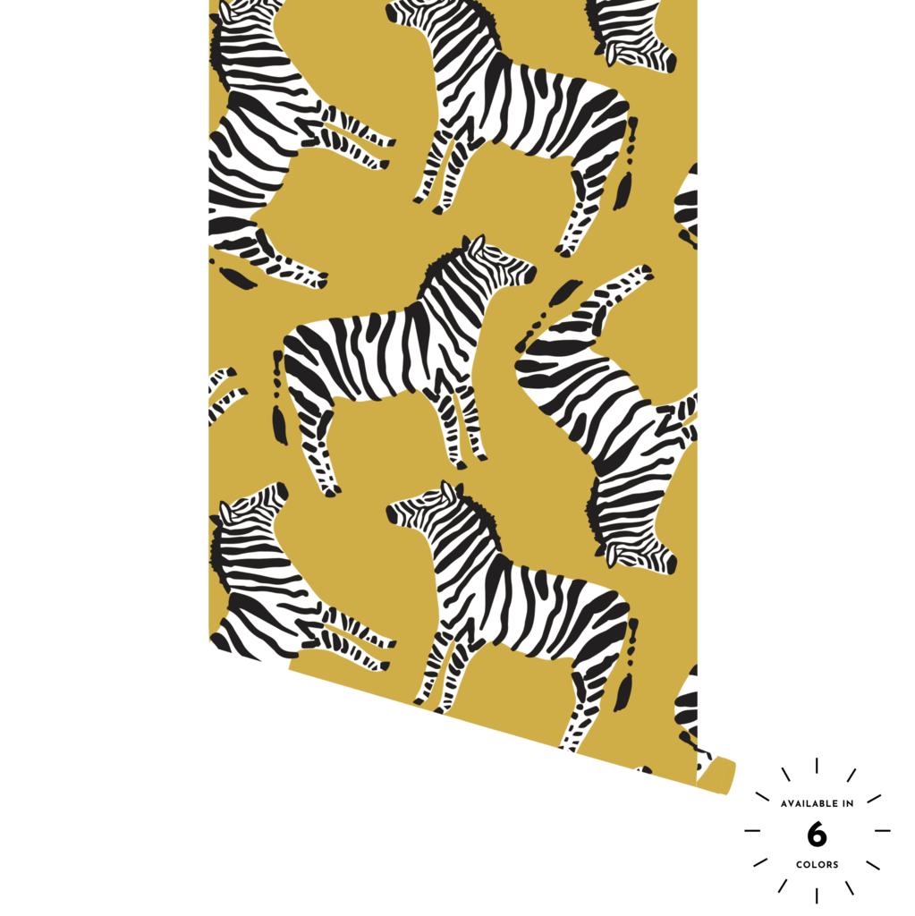 Colorful Zebra Wallpaper panels, Peel and stick