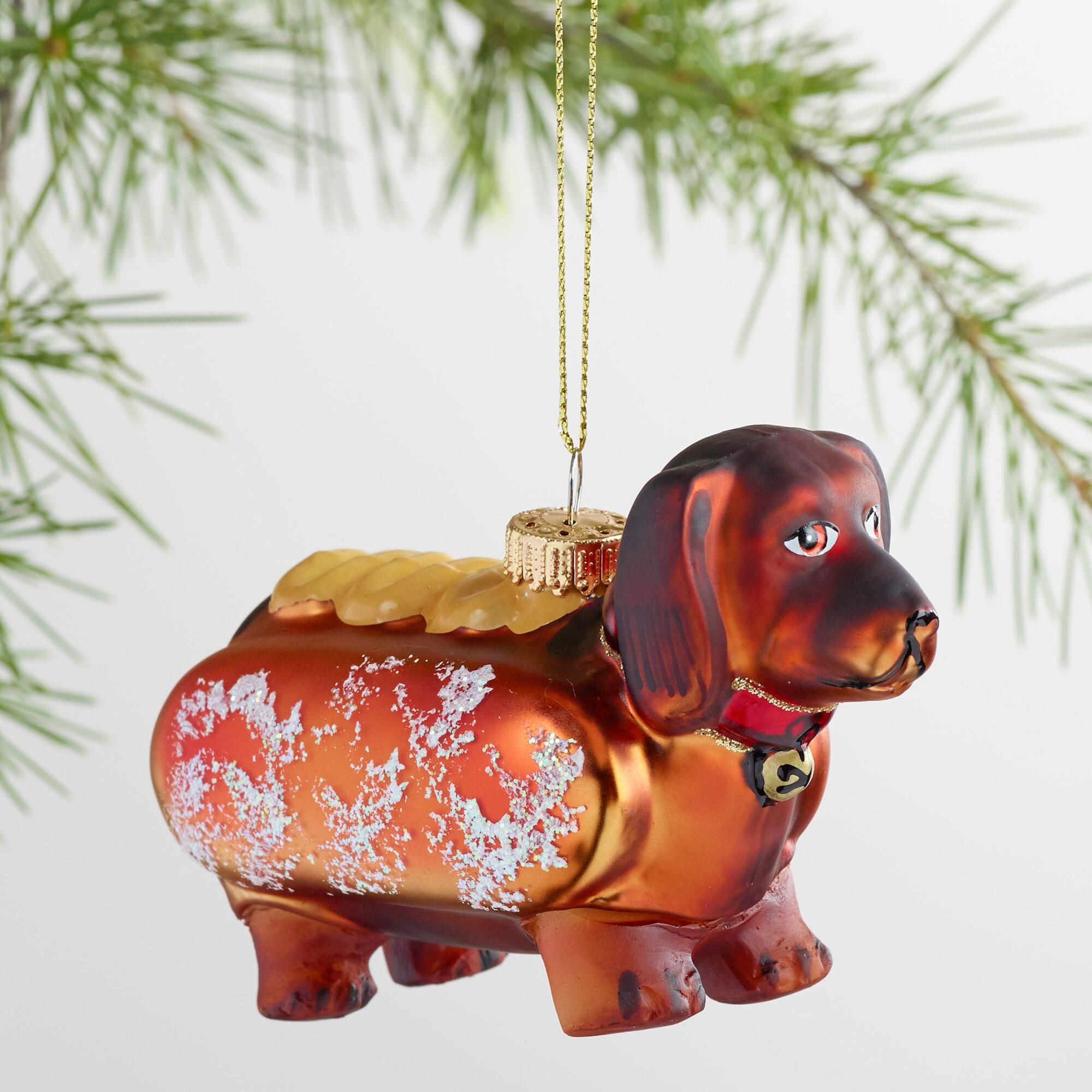 Glass Hot Dog Dachshund Ornament Dachshund Ornament Dachshund