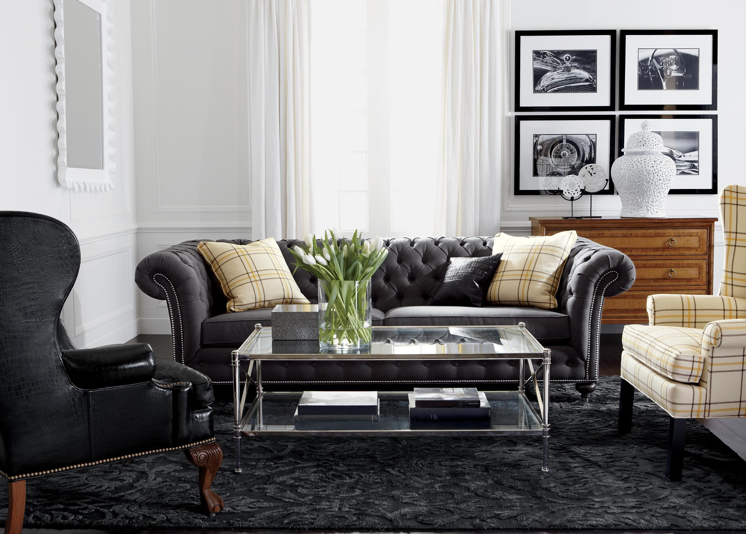 Like The Plaid Wingback And Overall Feel Masculine But Comfy Nice For Tv Room Clic Chrome Living Ethan Allen