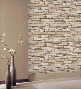 Natural Stacked Stone Brick Vinyl Self Adhesive Peel Stick Wallpaper