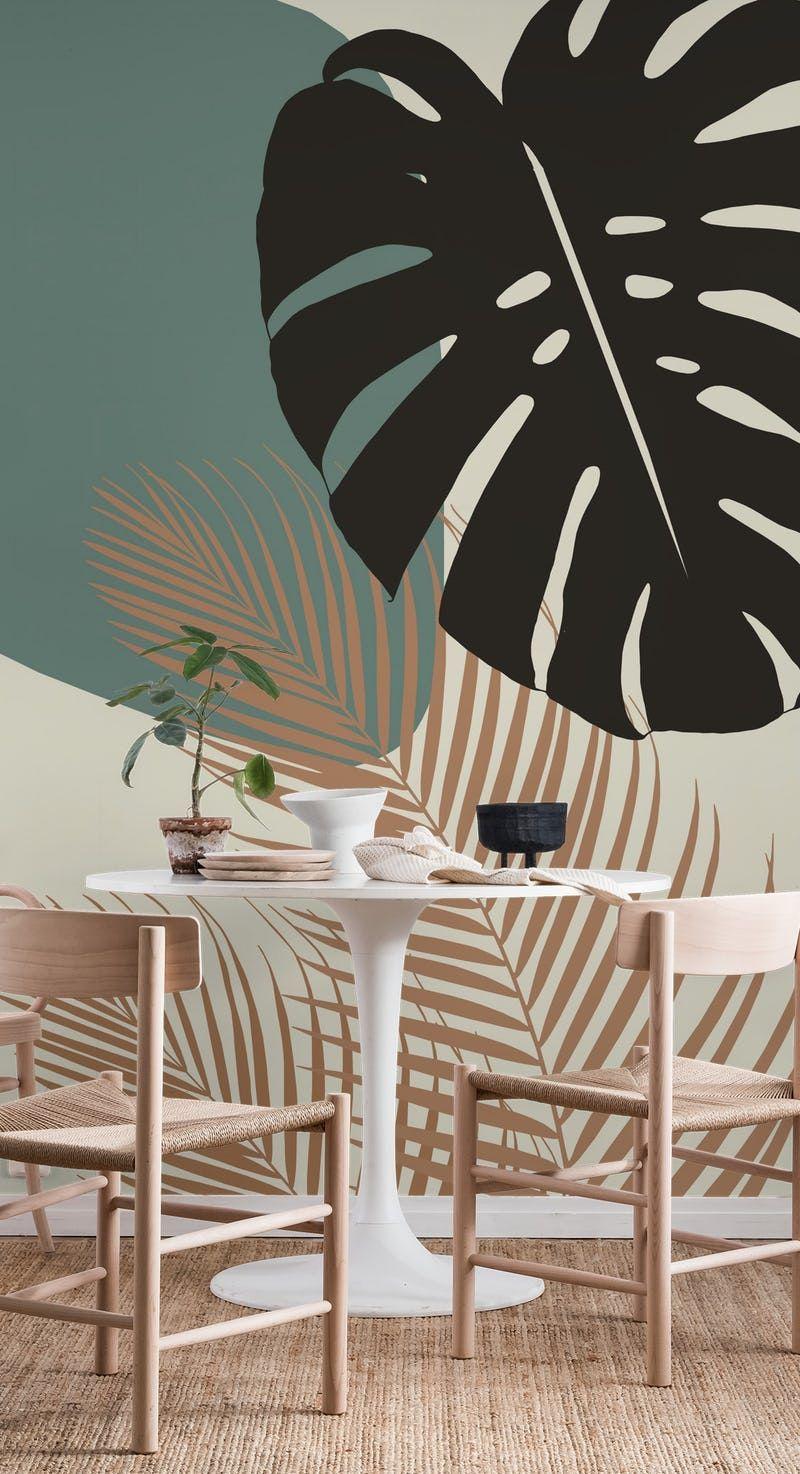 Minimal Monstera Palm 1 Wallpaper From Happywall Com Wall Murals Diy Wall Paint Designs Mural Wall Art