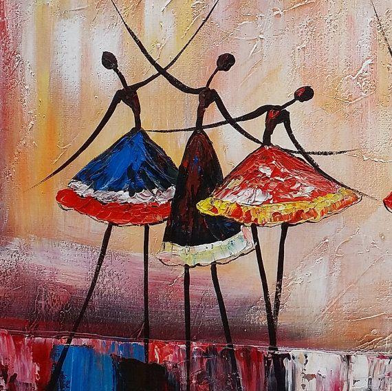 Grande peinture à l'huile toile Art encadré