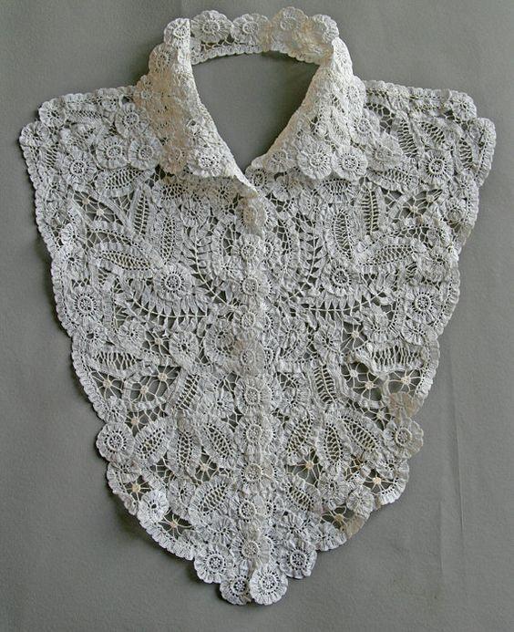 vintage 1910 39 s plastron collar lace bruges bruges. Black Bedroom Furniture Sets. Home Design Ideas