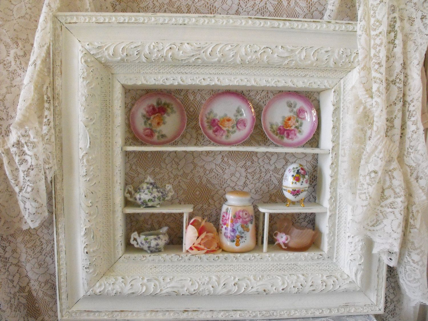 Reserve SC Large Antique Shadowbox/Curio Cabinet/Wall Storage   RETRO    Shabby Chic   Wall Cabinet  French Style Storage   Painted White