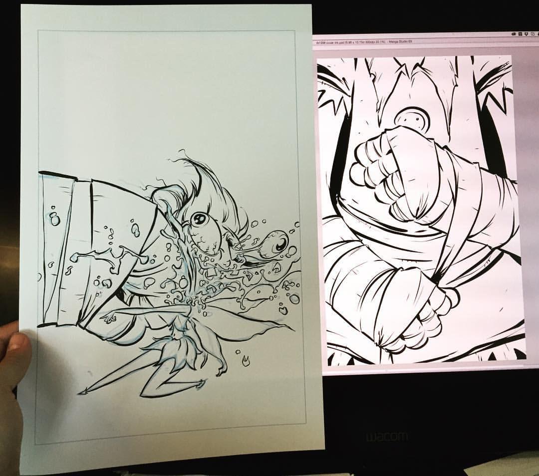 2 covers today. One traditional, one digital. Boy fun. #ihatefairyland #imagecomics #comicbooks #wip #cover #ink #digitalink