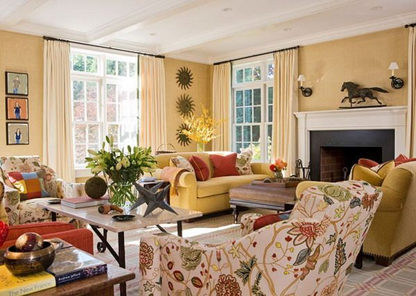 Yellow Traditional Living Room Country Living Room Design